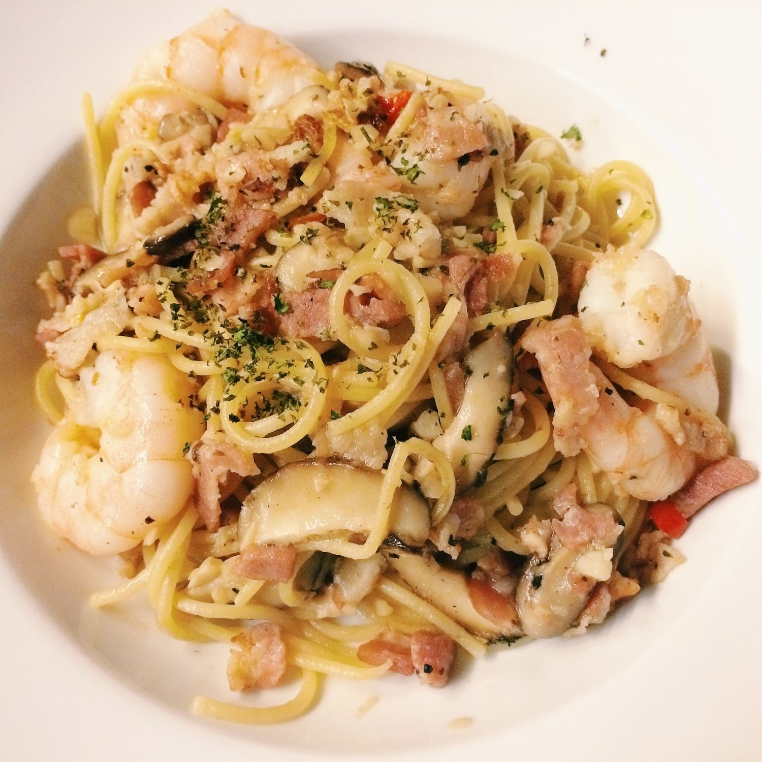 Prawn and Bacon Aglio Olio - Bobby's Restaurant & Bar