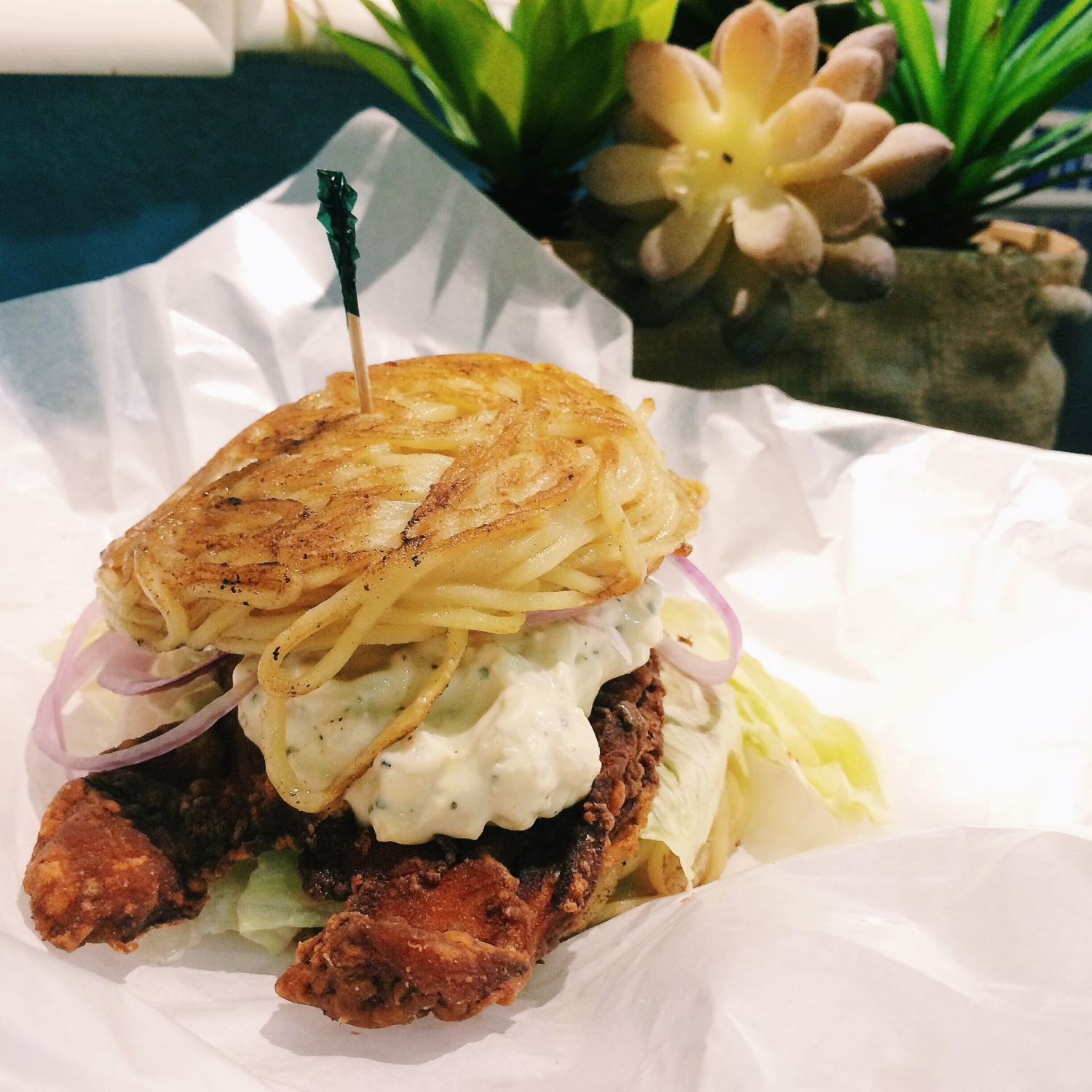 Chicken Karaage Ramen Burger - Little Hiro