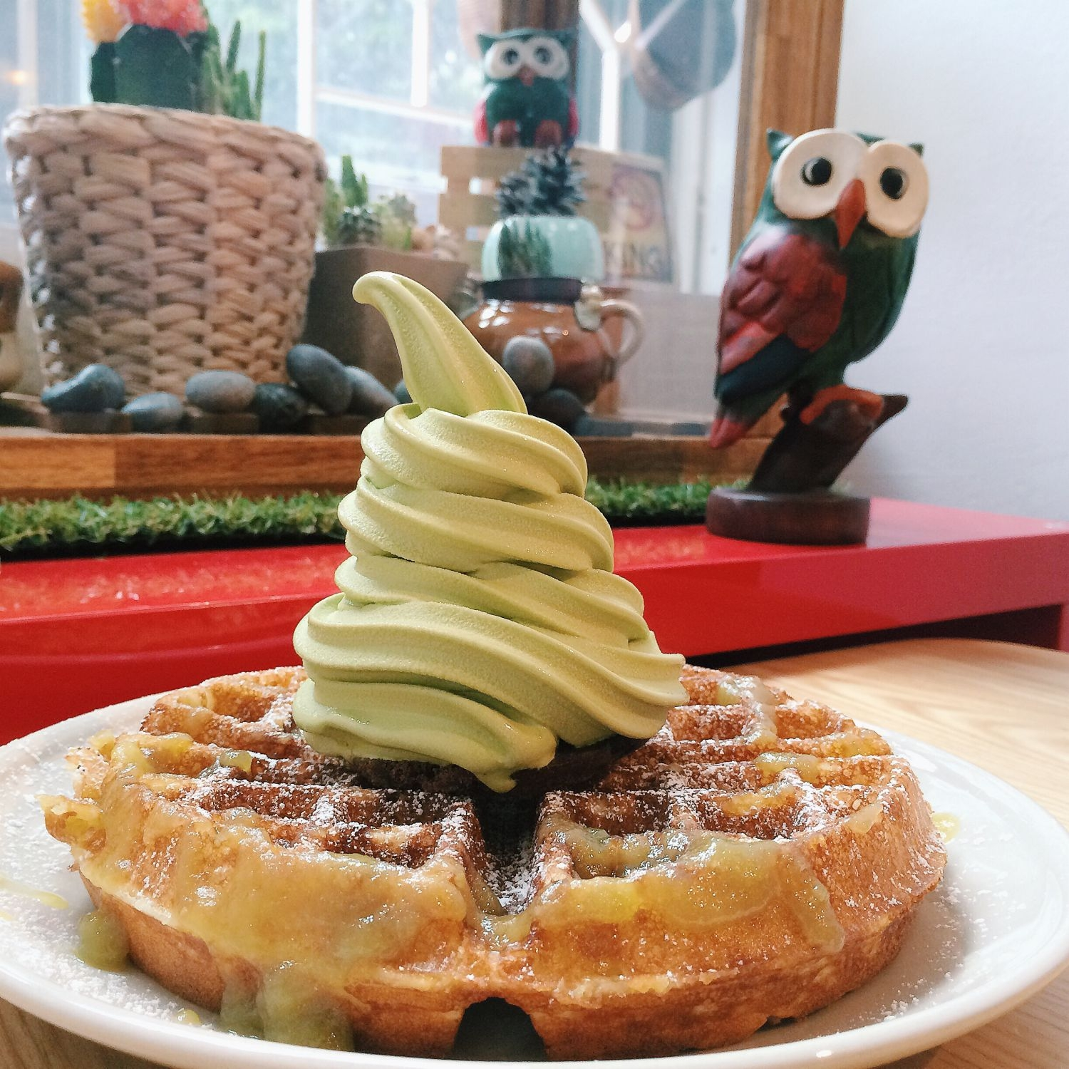 Kaya Waffle with Green Tea Soft Serve - The Cold Pantry