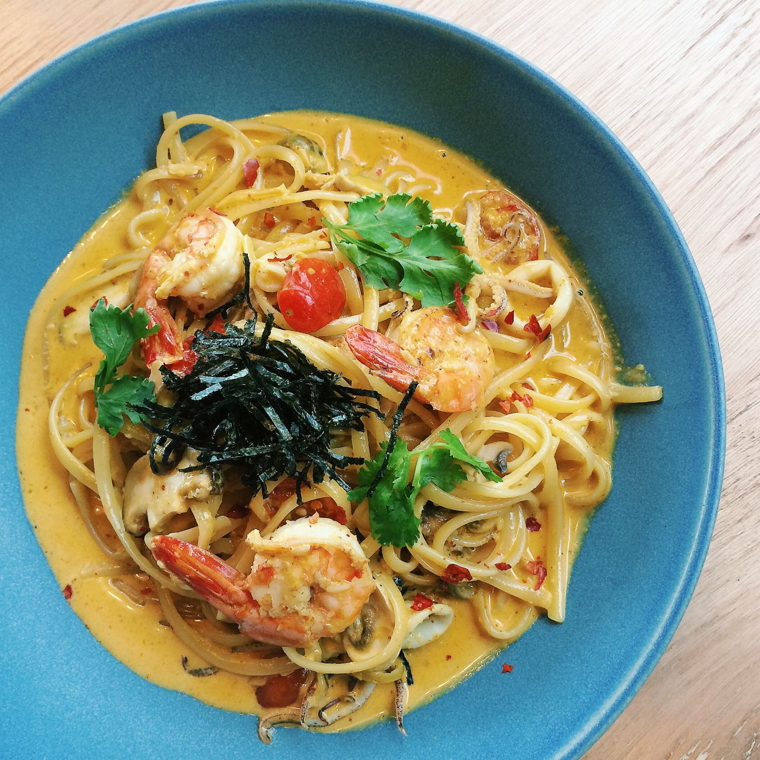 Tom Yum Seafood Pasta - Rise & Grind Coffee Co.