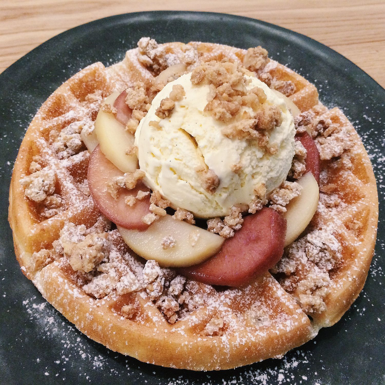 Waffle with Wine-Poached Pear - Curious Palette
