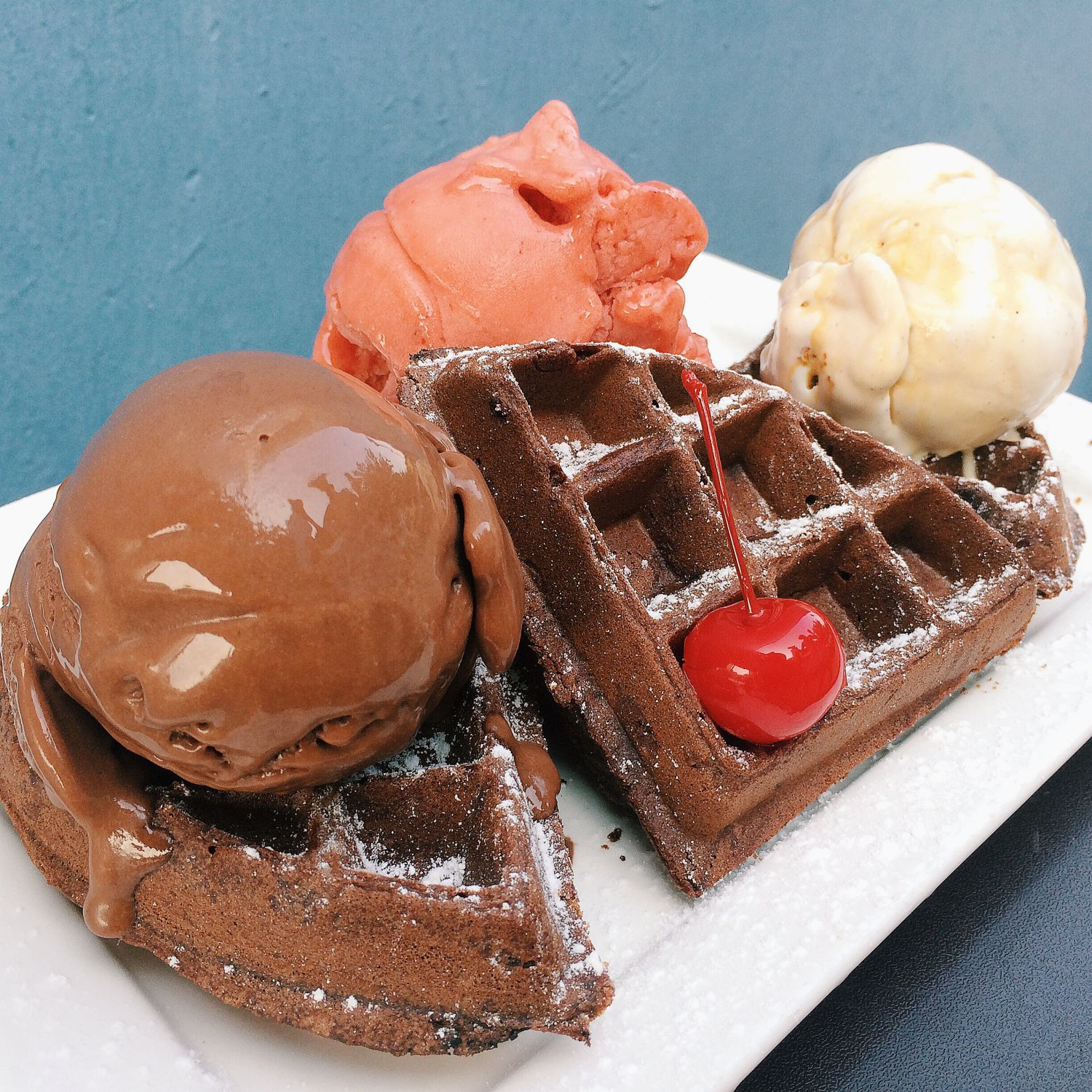 Chocolate Belgian Waffle with Ice Cream - Milk and Honey Gelato