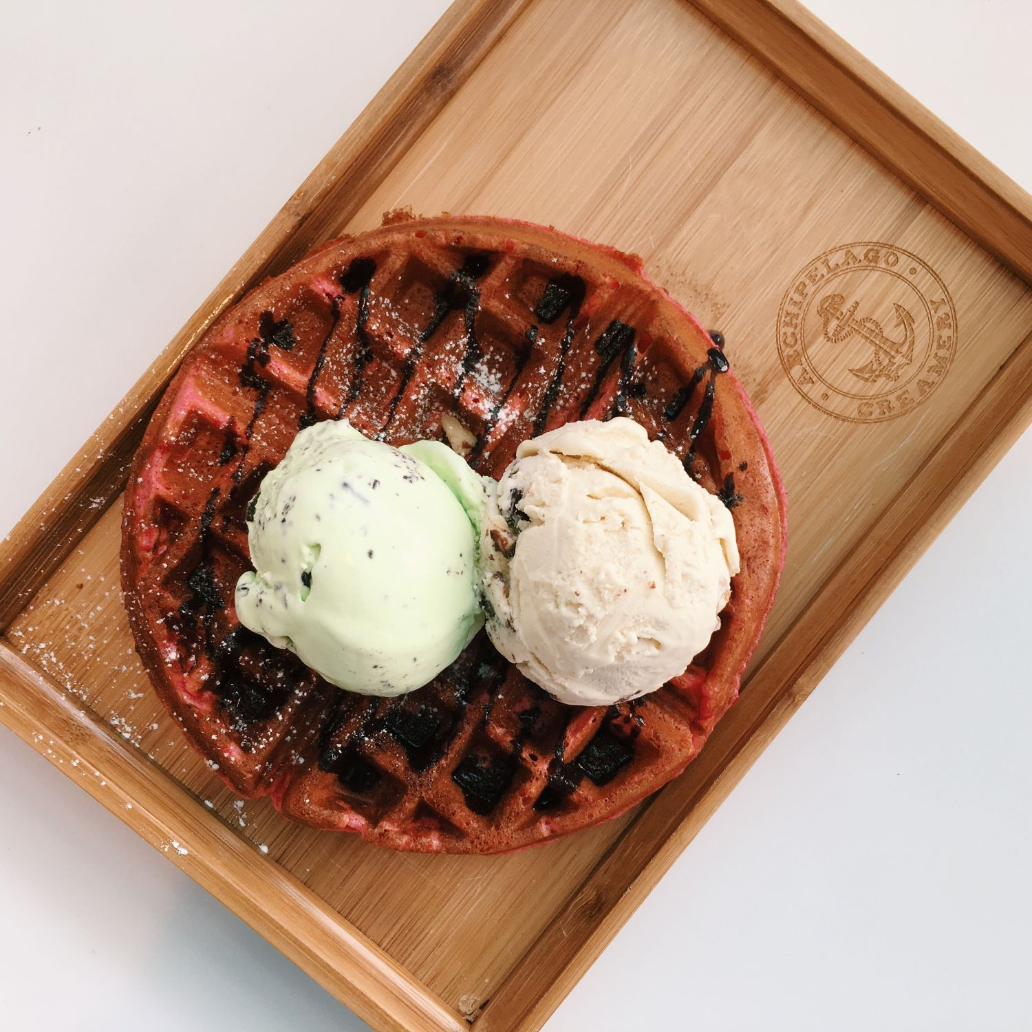 Red Velvet Waffle with Ice Cream - Archipelago Creamery