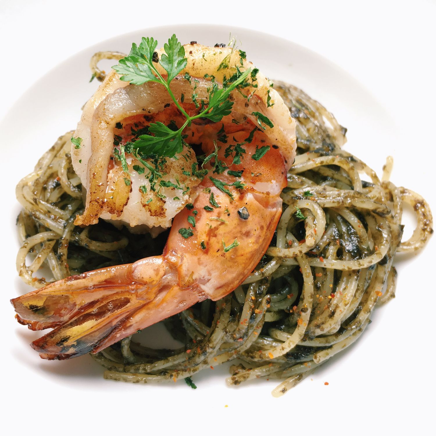 Nori Tsukudani Spaghettini with King Prawn - Wild Rocket