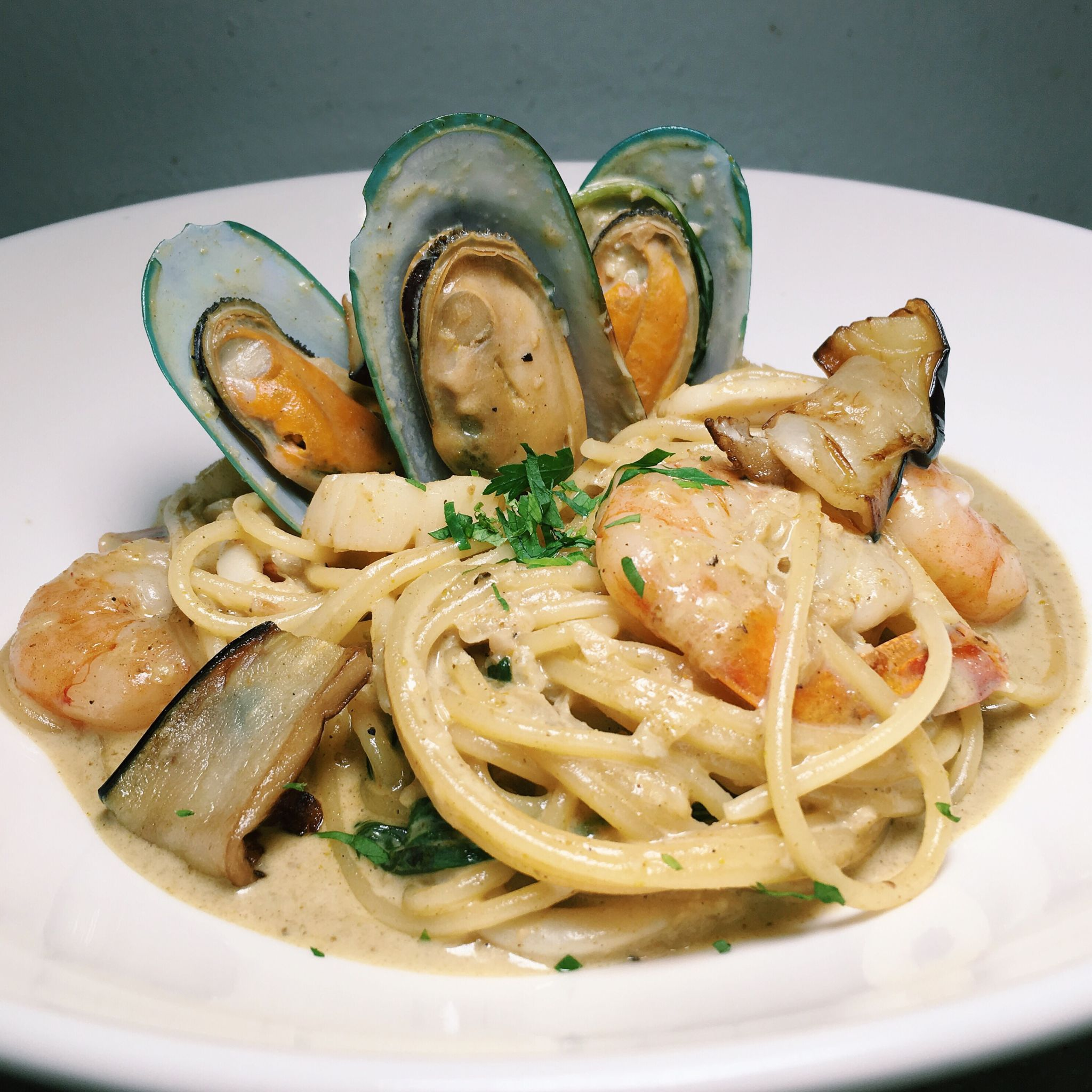 Thai Green Curry Pasta - Boufe Boutique Cafe
