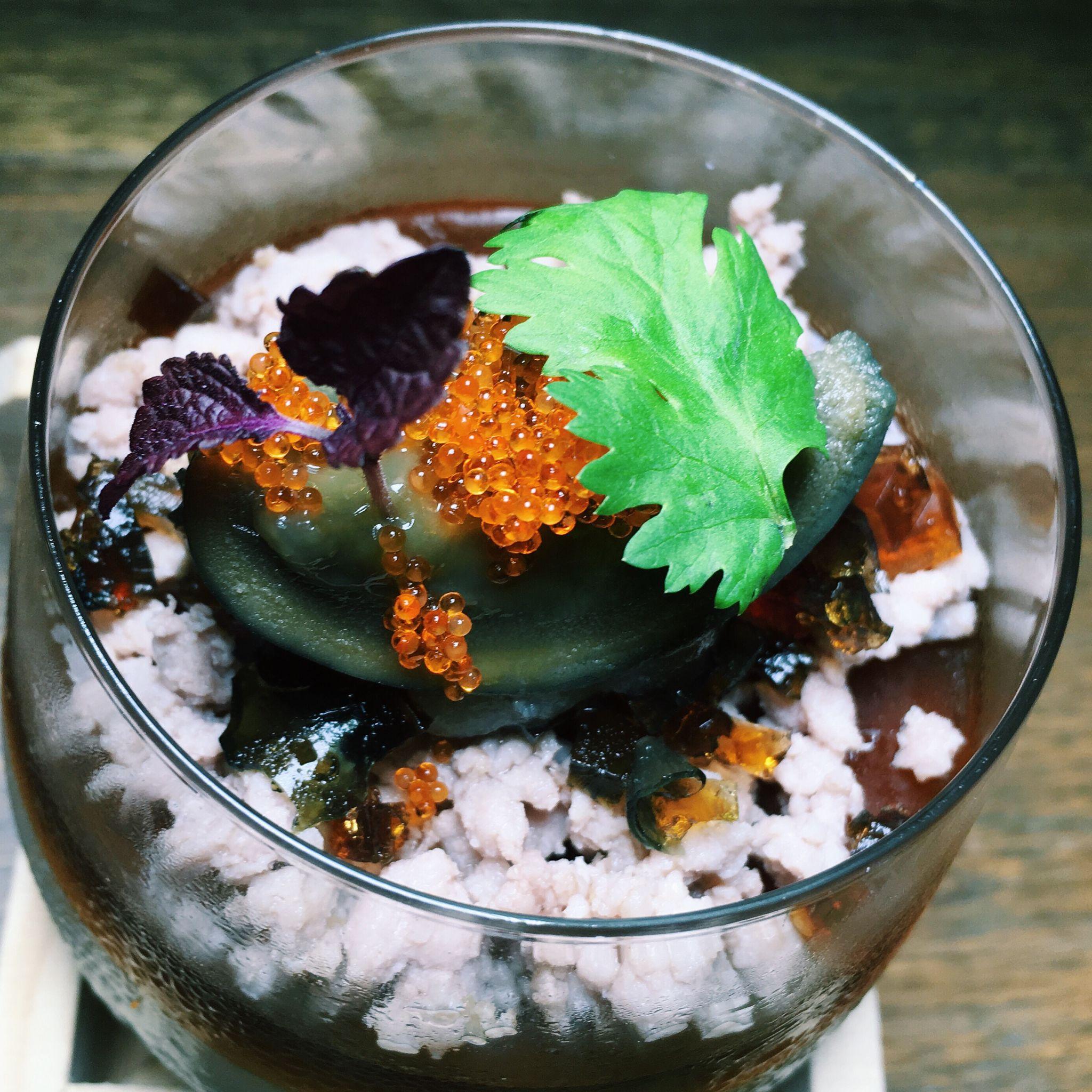 Savoury Soya Milk Panna Cotta with Shoyu Jelly, Oriental Minced Pork and Century Egg - The East Bureau