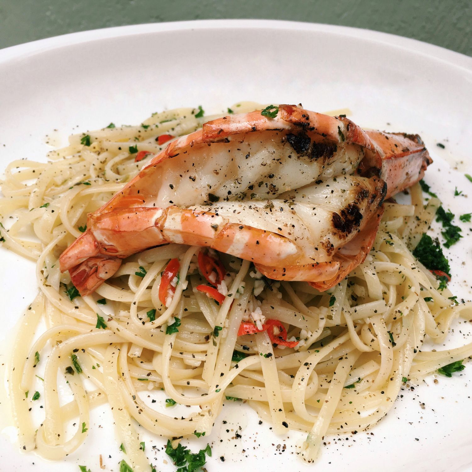 Fresh King Prawn with Linguine in Aglio Olio Sauce - Mad About Sucre