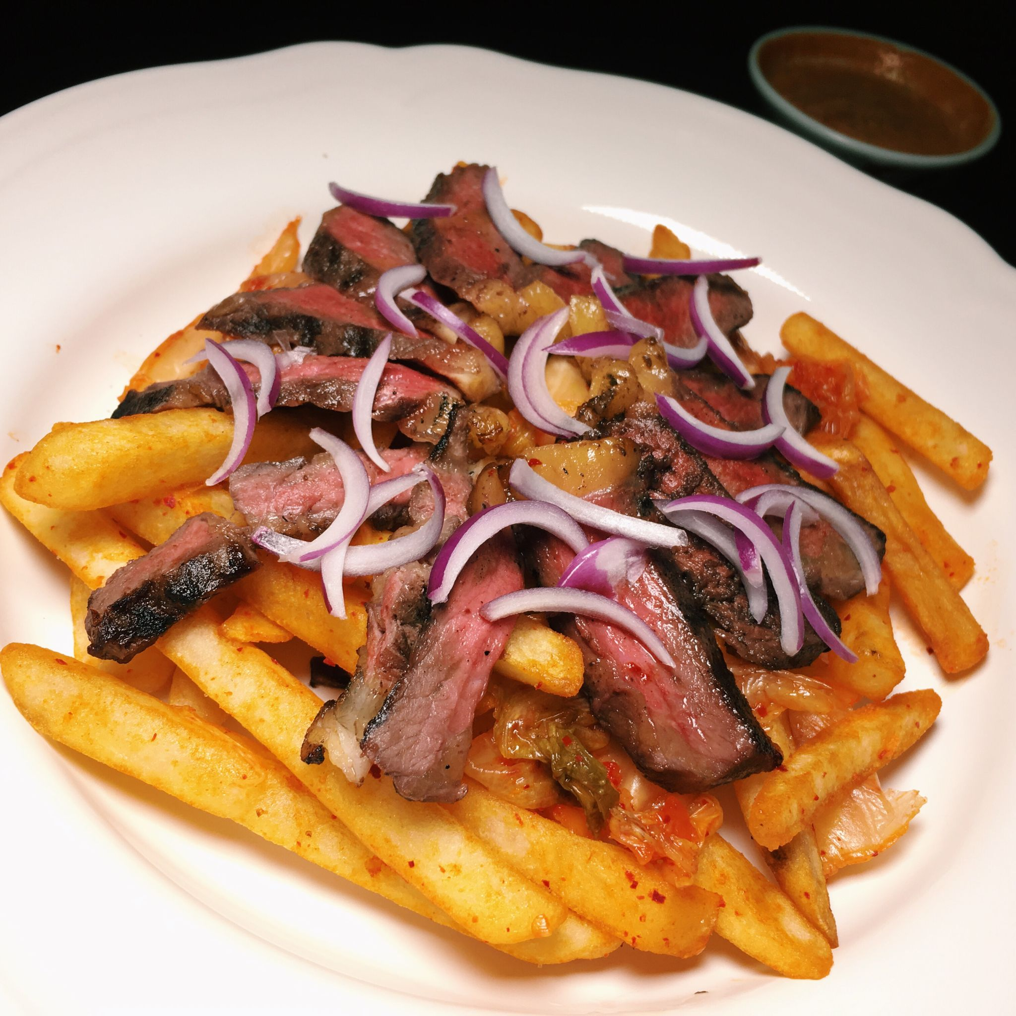 Grilled Steak with Kimchi Fries - Paper Crane