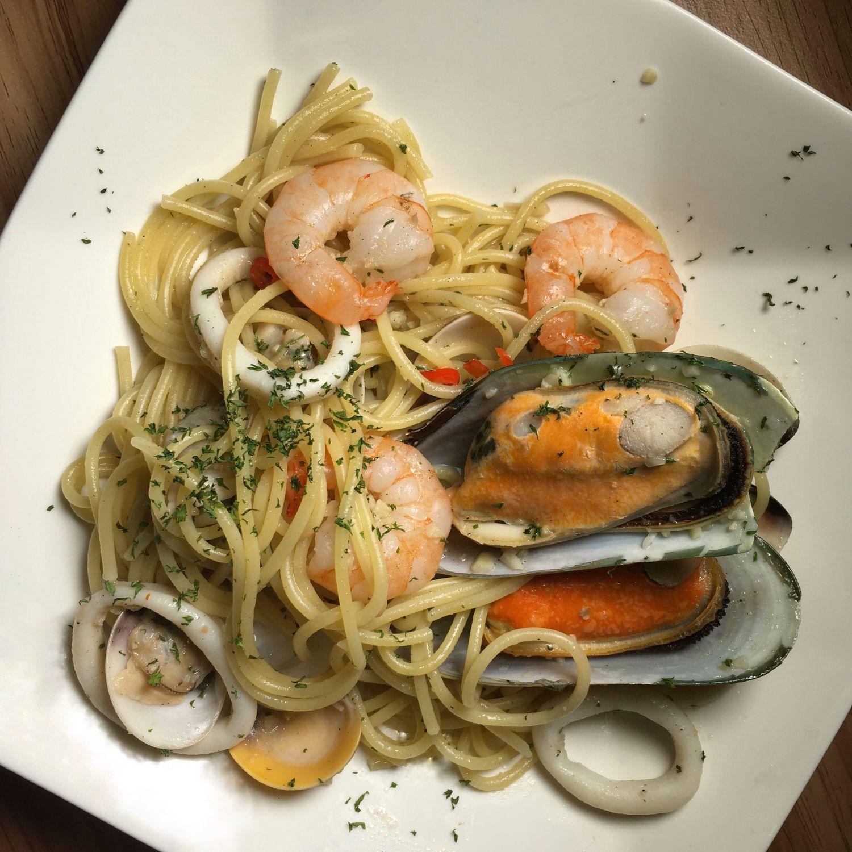 Seafood Aglio Olio - The Larder Cafe
