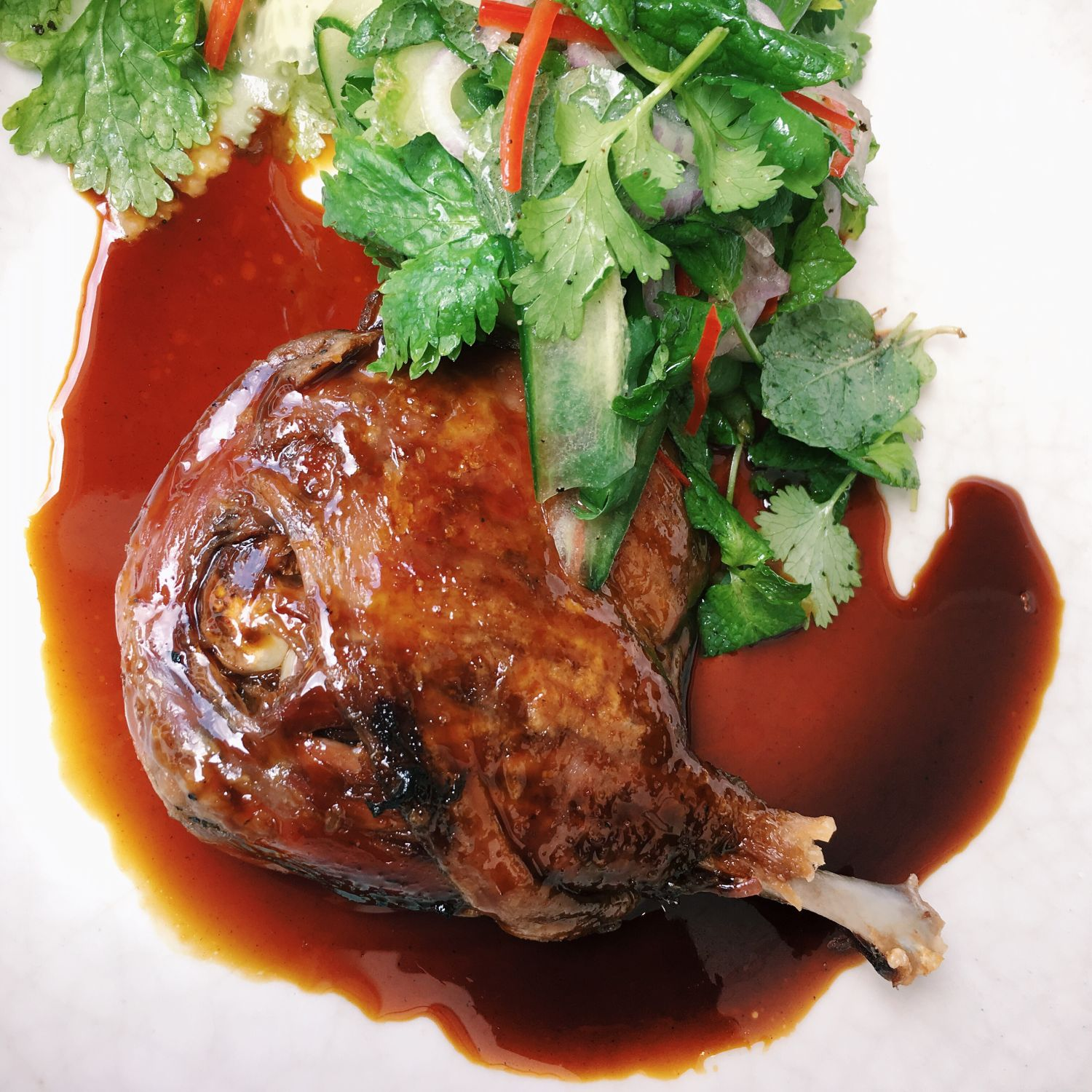 Confit Duck Leg with Waffles - Cheek by Jowl