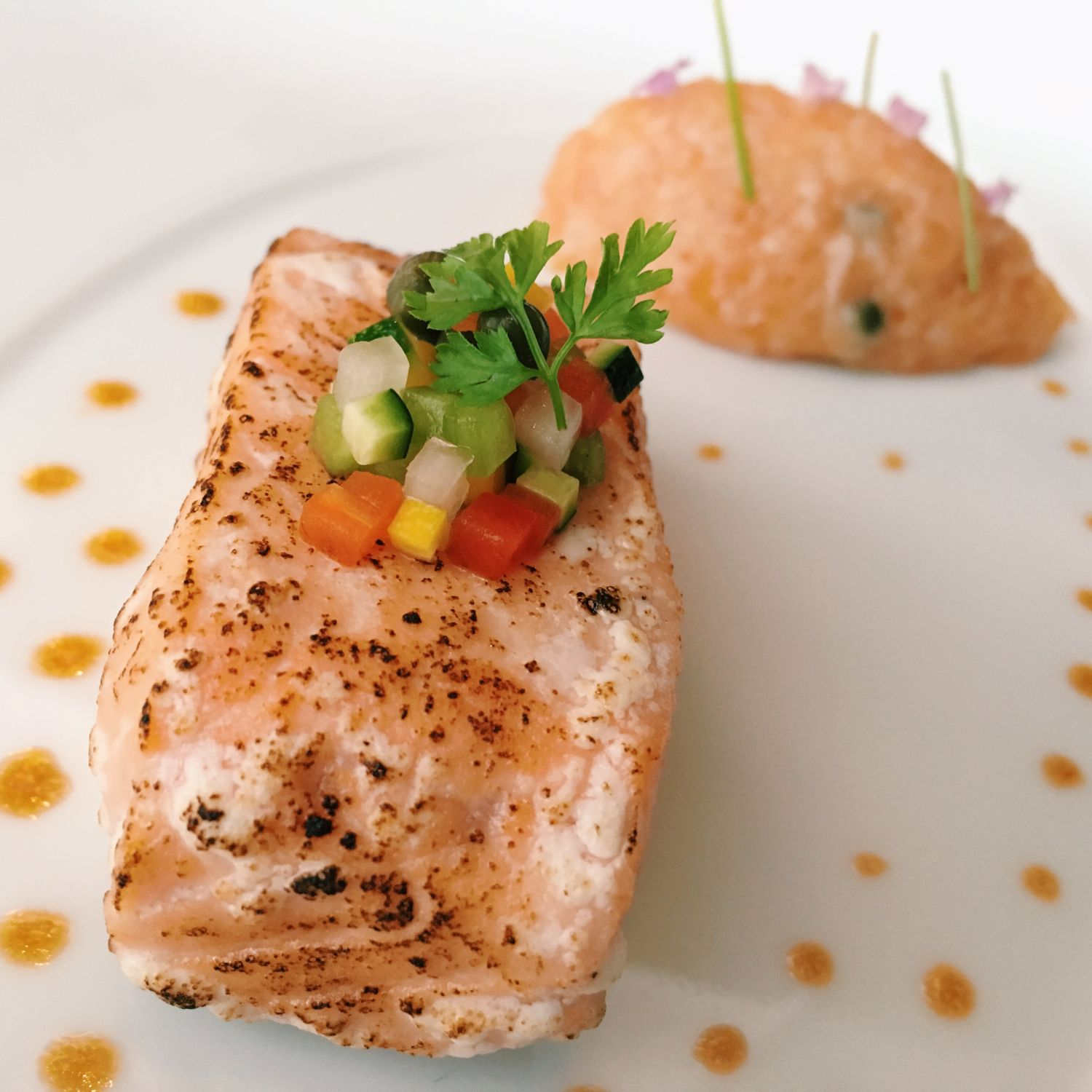 Salmon Served Two Ways - Les Amis Restaurant