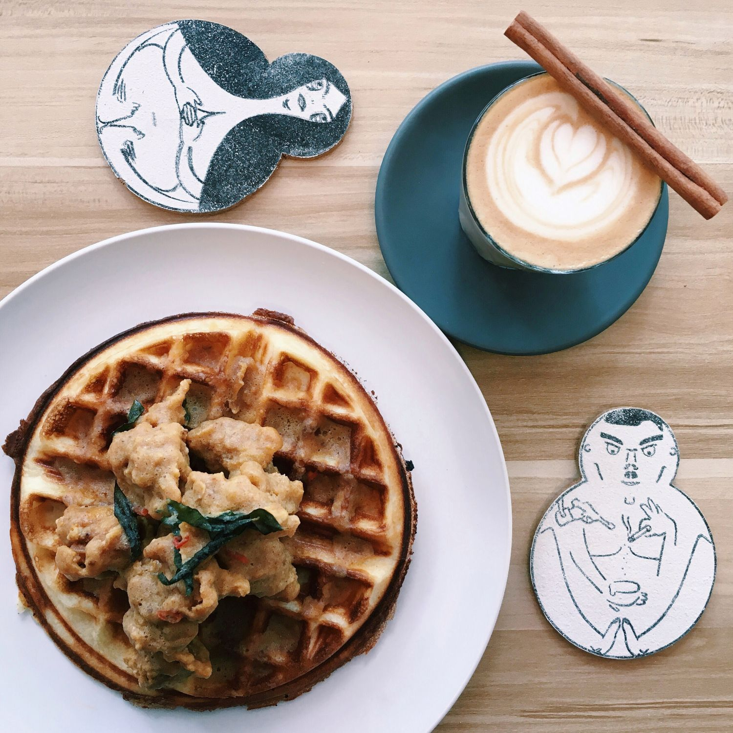 Salted Egg Chicken Waffle - Ivory Coffee