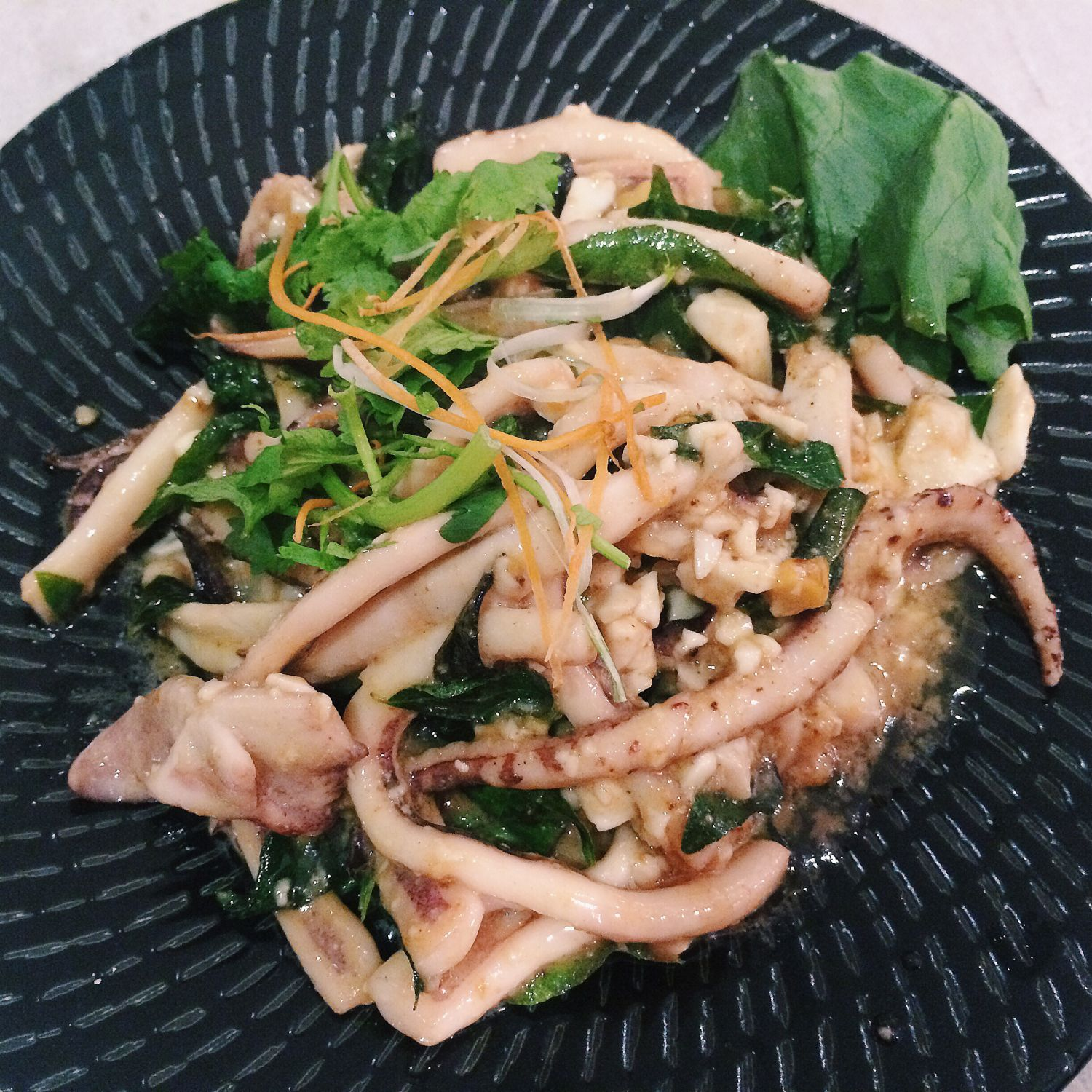 Stir-Fried Squid with Runny Salted Egg - Gin Khao