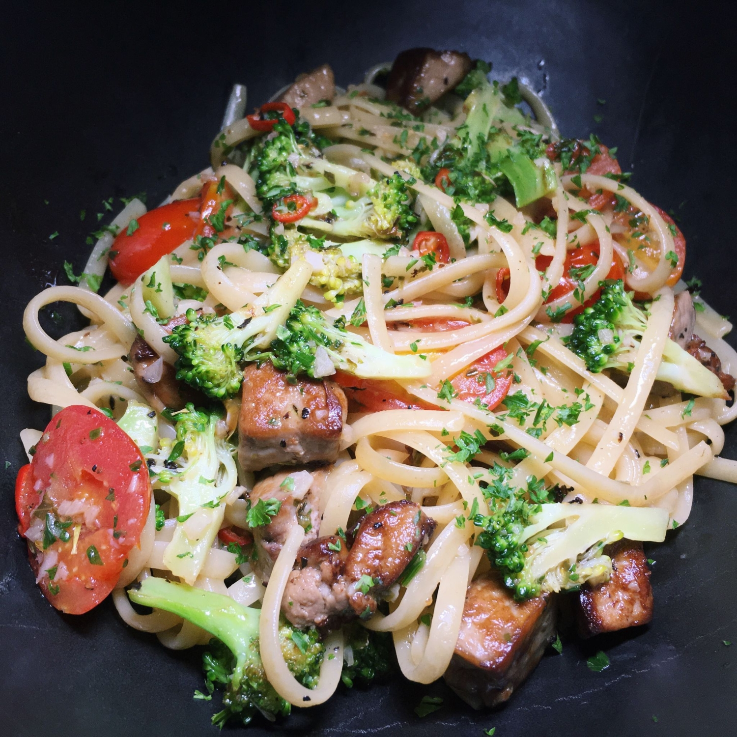 French Foie Gras Linguine Aglio Olio - Mad About Sucre