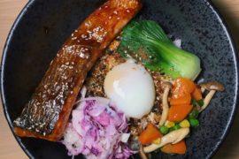 Glazed Teriyaki Salmon Furikake Bowl - 5 Senses