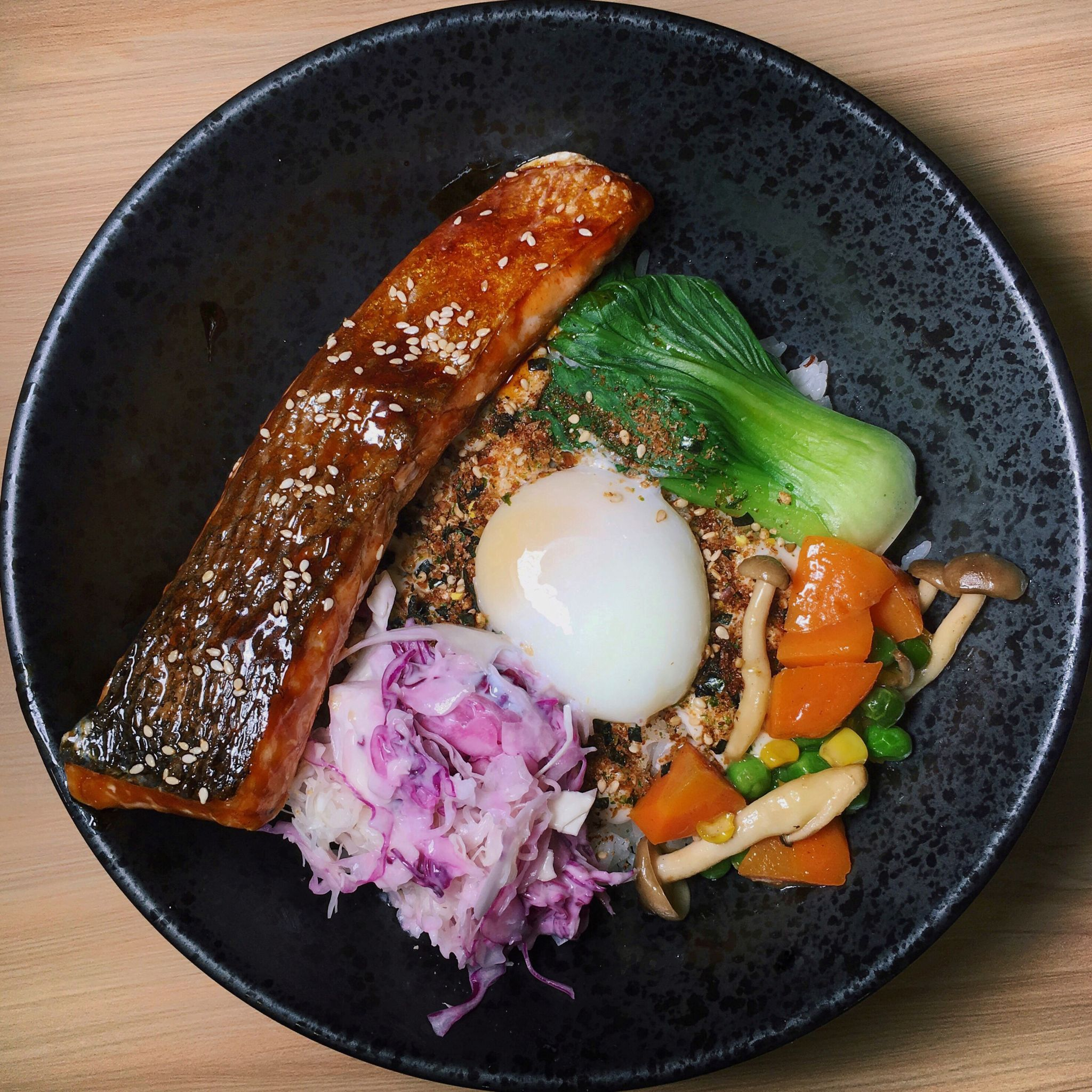 Glazed Teriyaki Salmon Furikake Bowl - 5 Senses