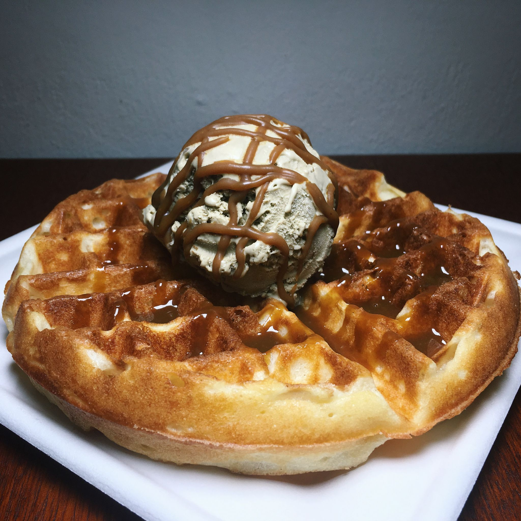 Waffle with Hojicha Ice Cream - The Flourist