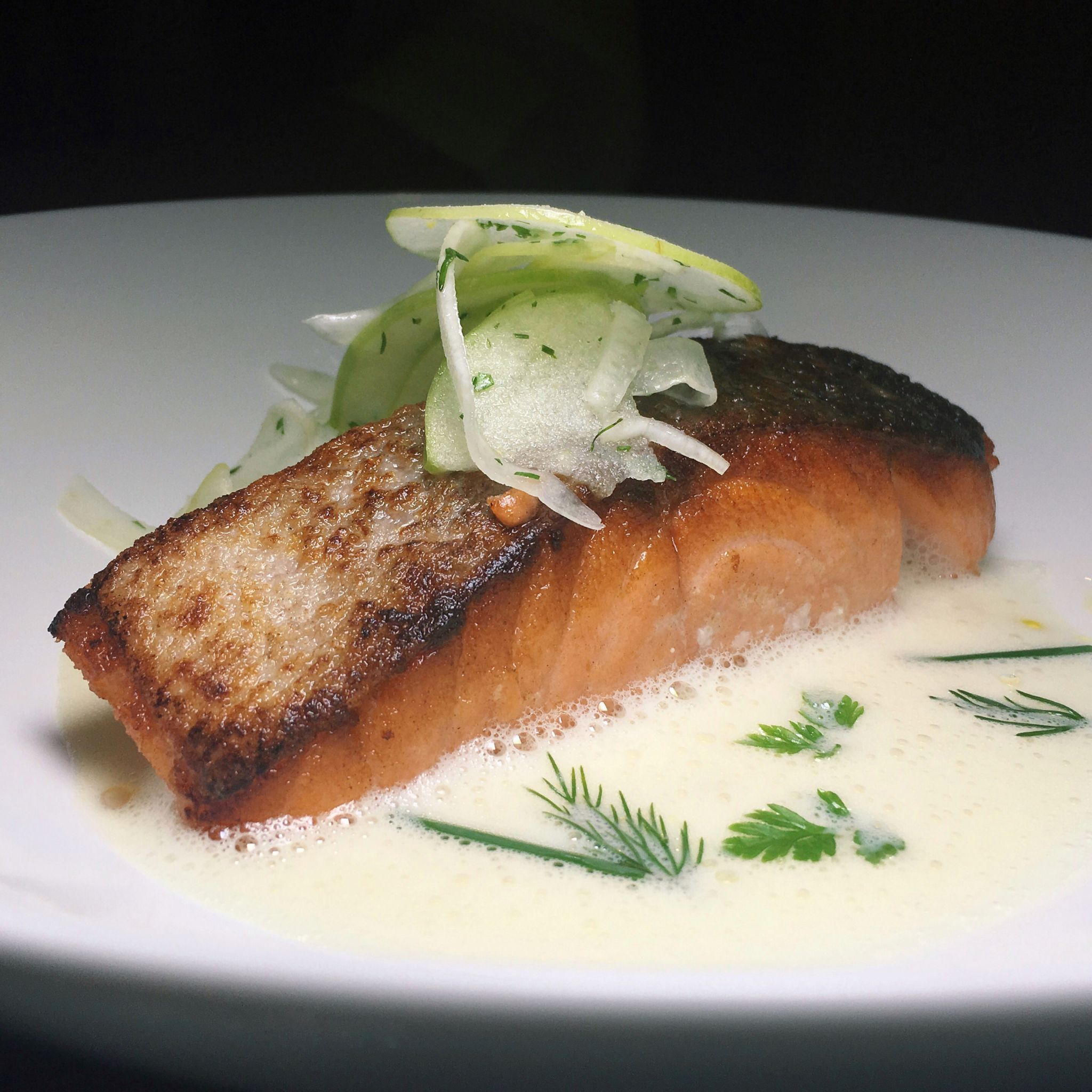 Sous Vide Salmon with White Chocolate Hollandaise - Antoinette