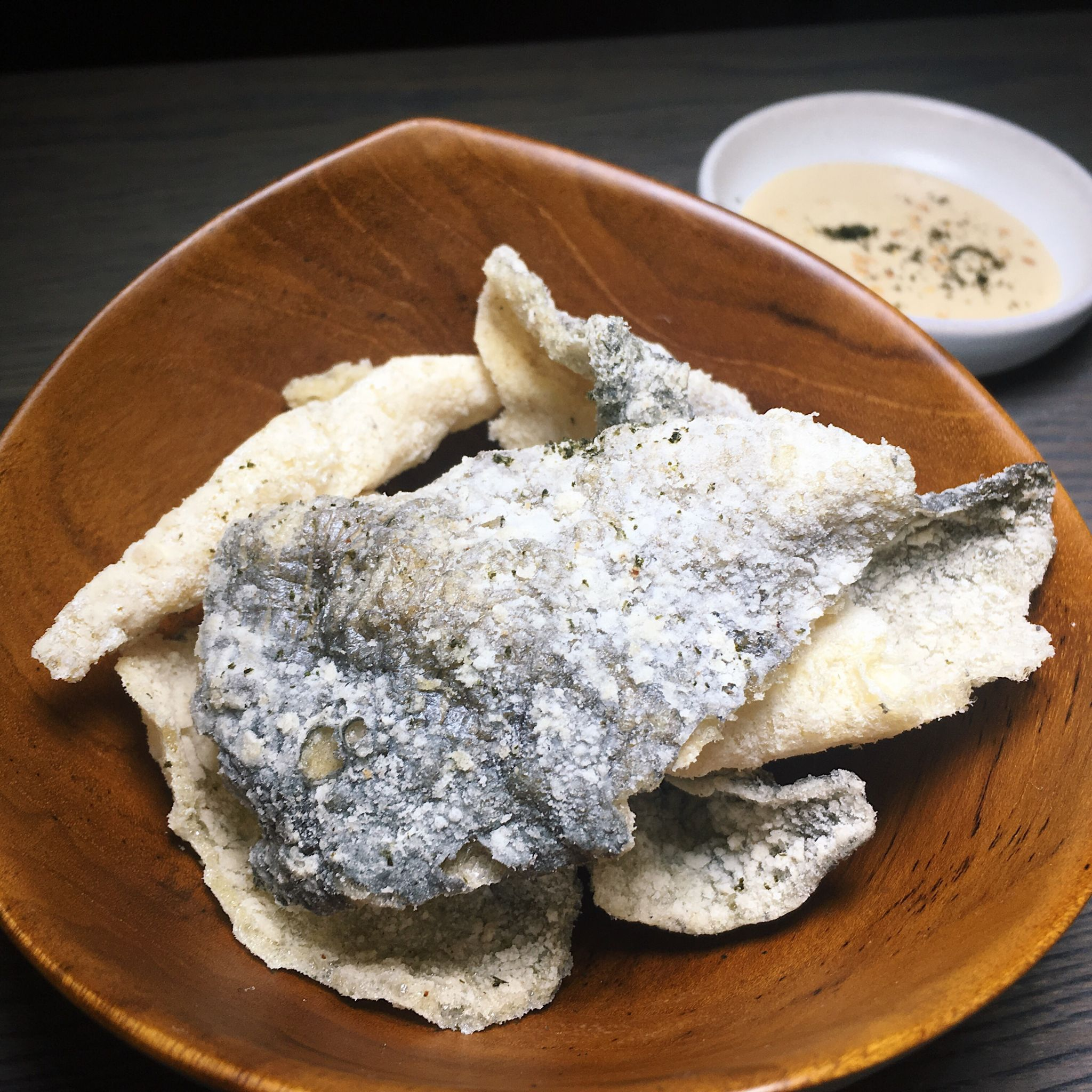Crispy Fish Skin, Nori Salt, Sesame Tahini - Butcher Boy Singapore