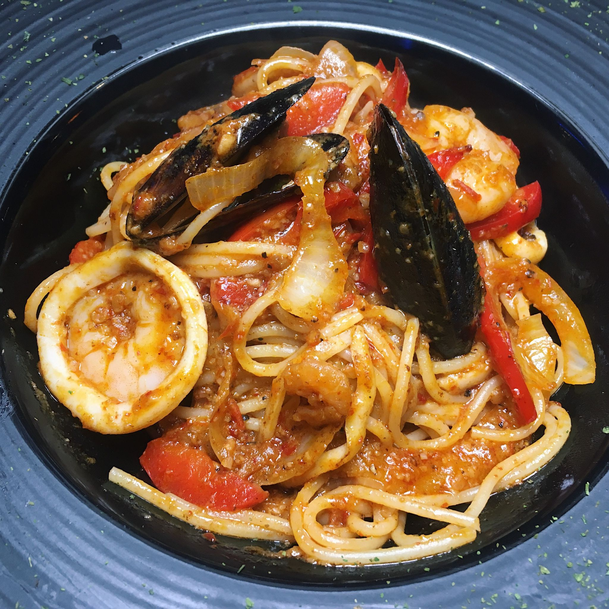 Smokin' Sambal Seafood Pasta - Eaglewings Loft