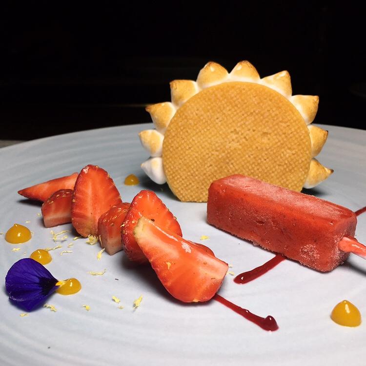 Origin Yuzu Lemon Tart with Strawberry Iced Lolly - Origin Grill & Bar