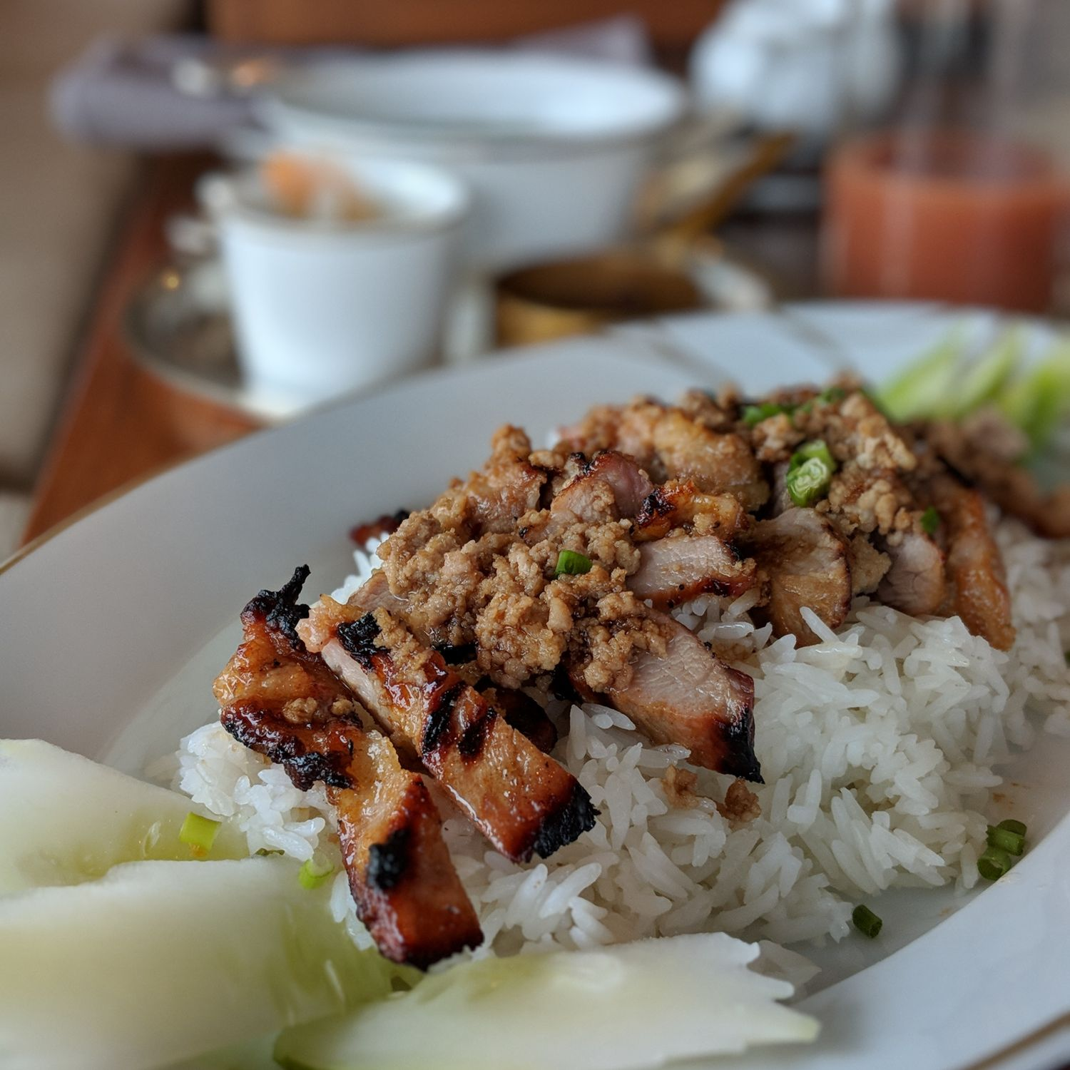 rosewood phnom penh Brasserie Louis Breakfast Marinated Grilled Pork on Steamed Rice