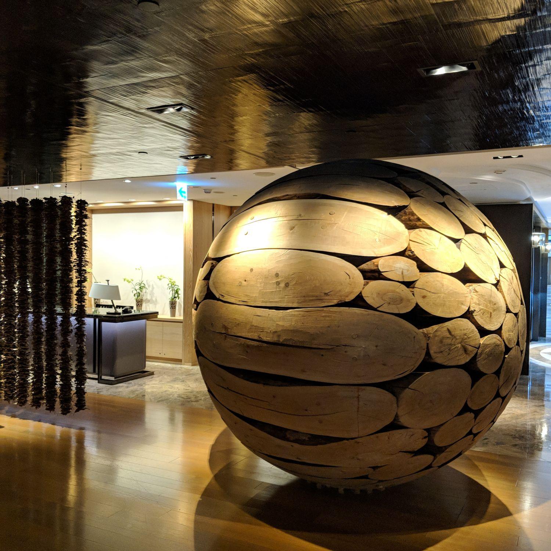 grand hyatt taipei lobby lobby wooden sphere