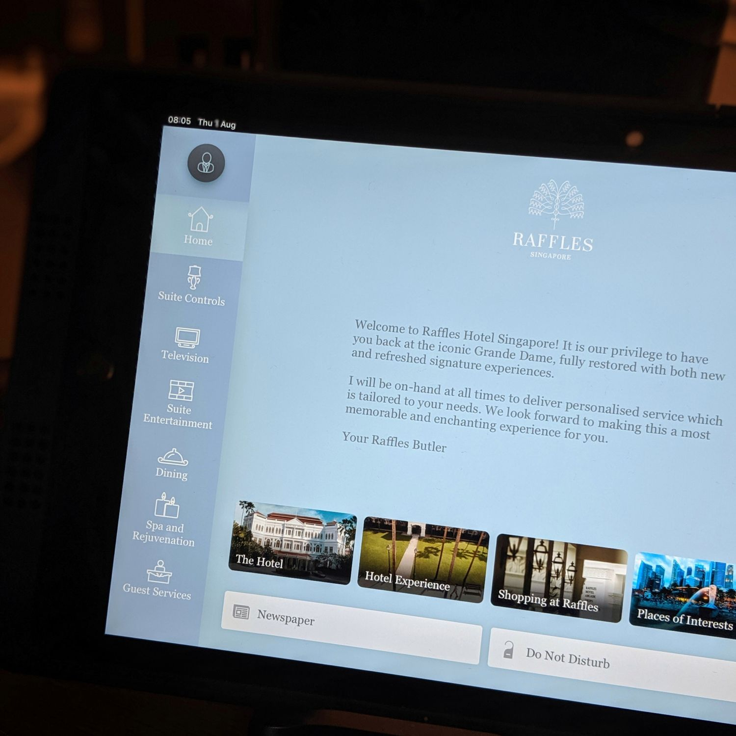 raffles hotel singapore palm court suite iPad control system