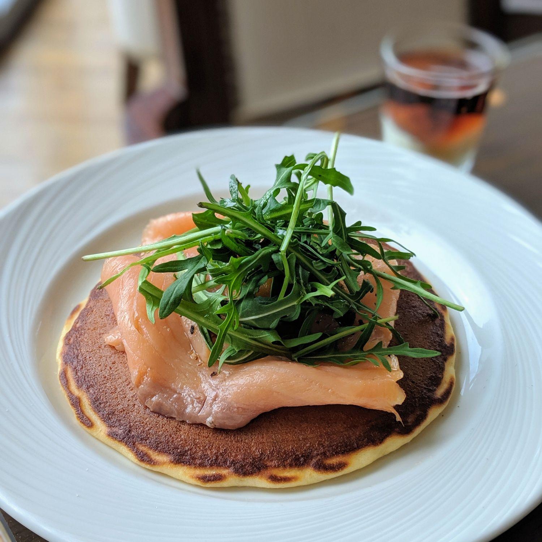 the westin singapore westin club lounge breakfast smoked salmon sweet potato pancakes
