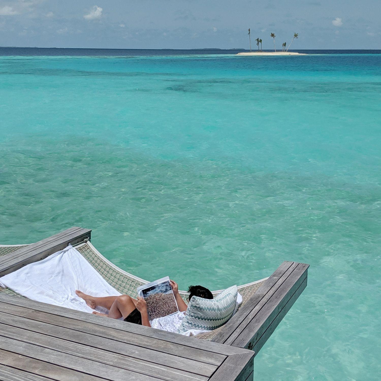 waldorf astoria maldives ithaafushi King Grand Reef Villa with Pool hammock