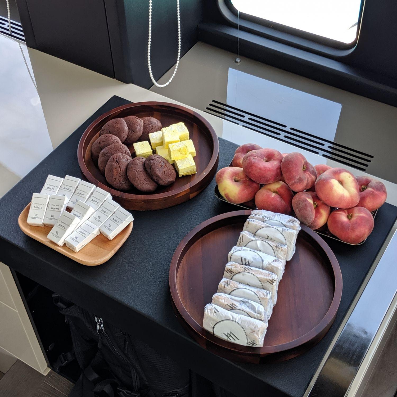 waldorf astoria maldives ithaafushi luxury yacht snacks