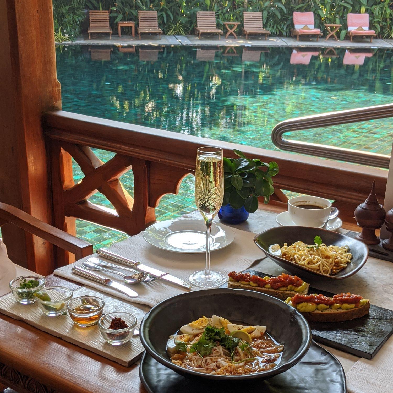 belmond governor's residence yangon mandalay restaurant sparkling wine breakfast
