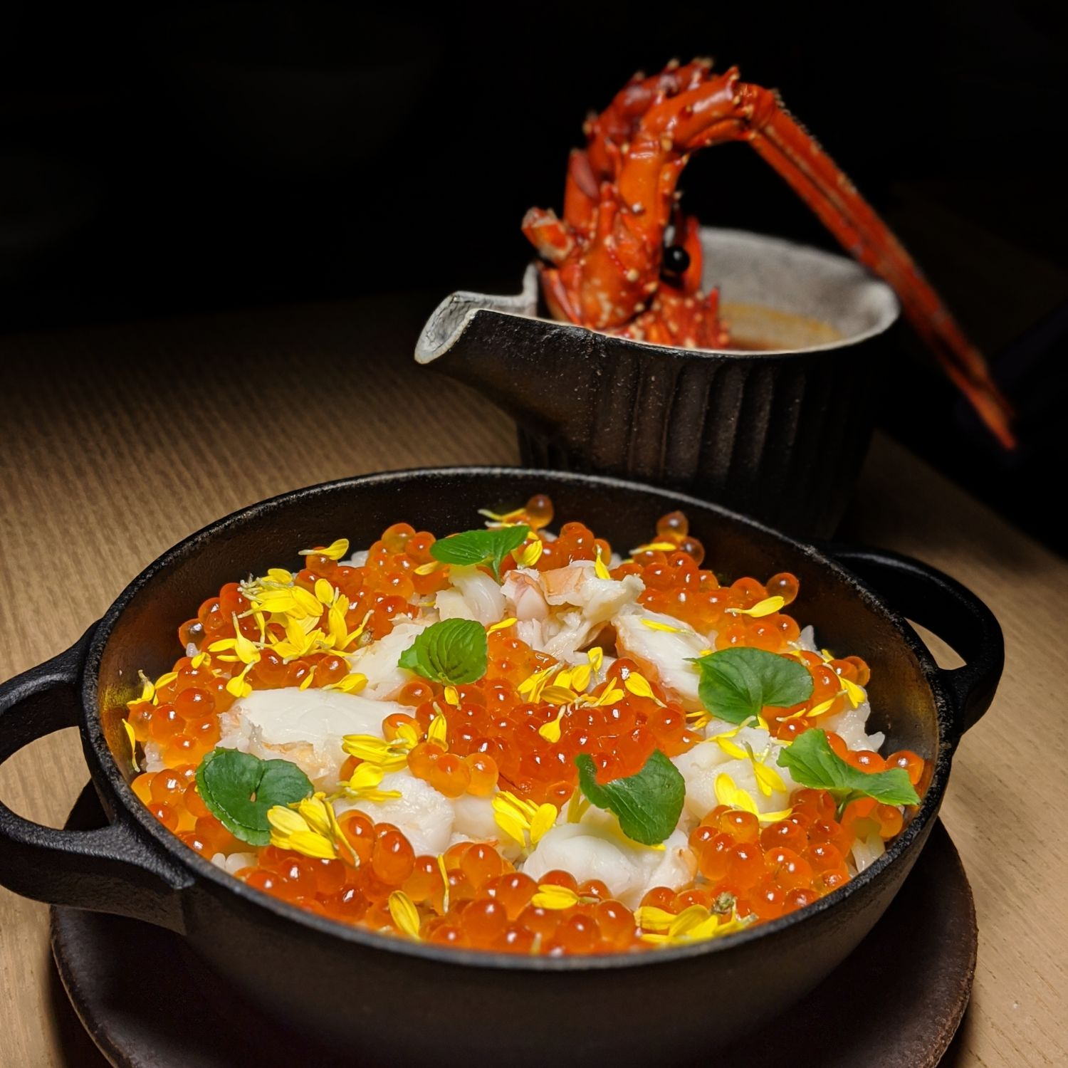 aman kyoto the living pavilion Hot Pot Kyoto Rice with Isa Lobster, Ebi Imo, Ikura Salmon Roe, Bisque