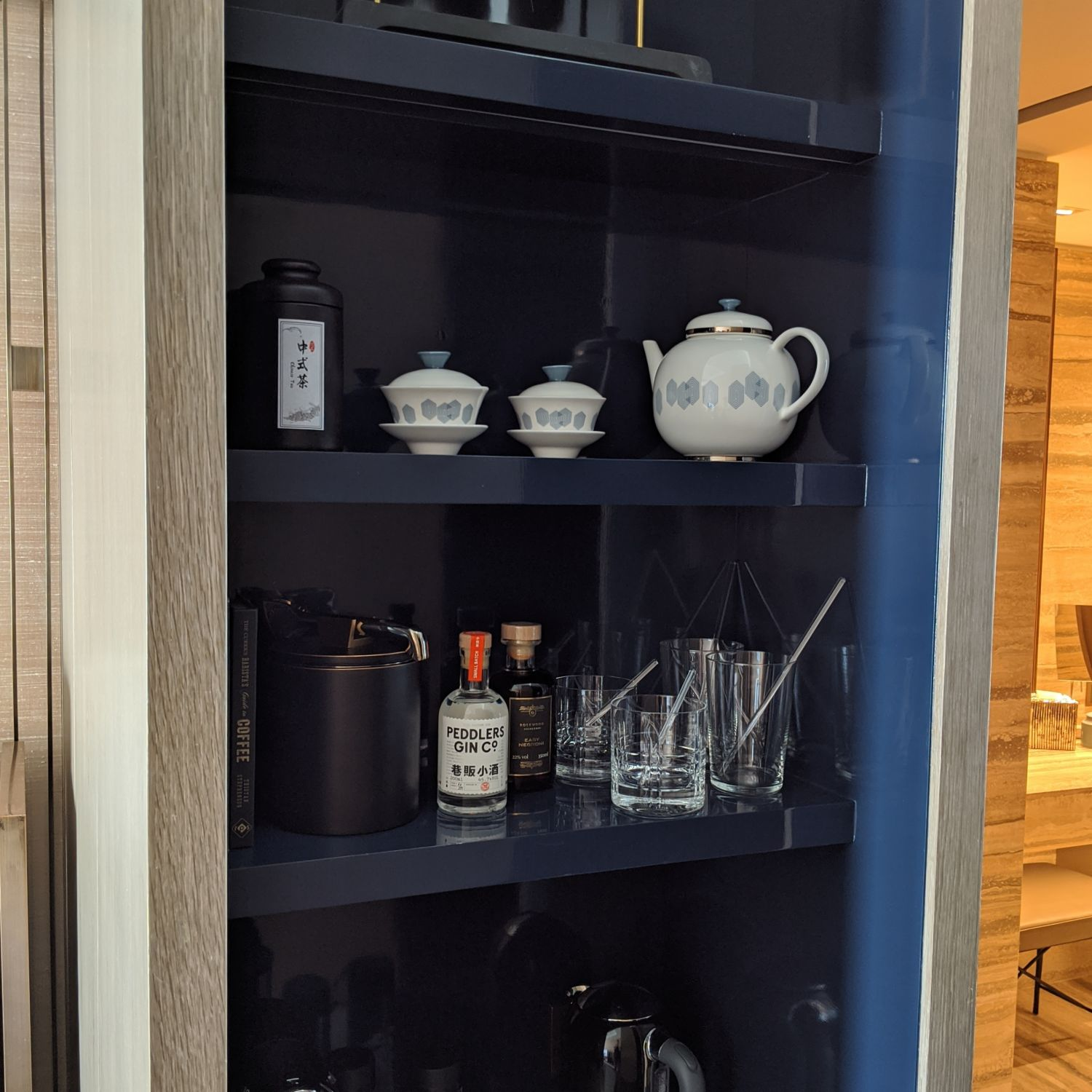 rosewood guangzhou club river view room pantry and minibar