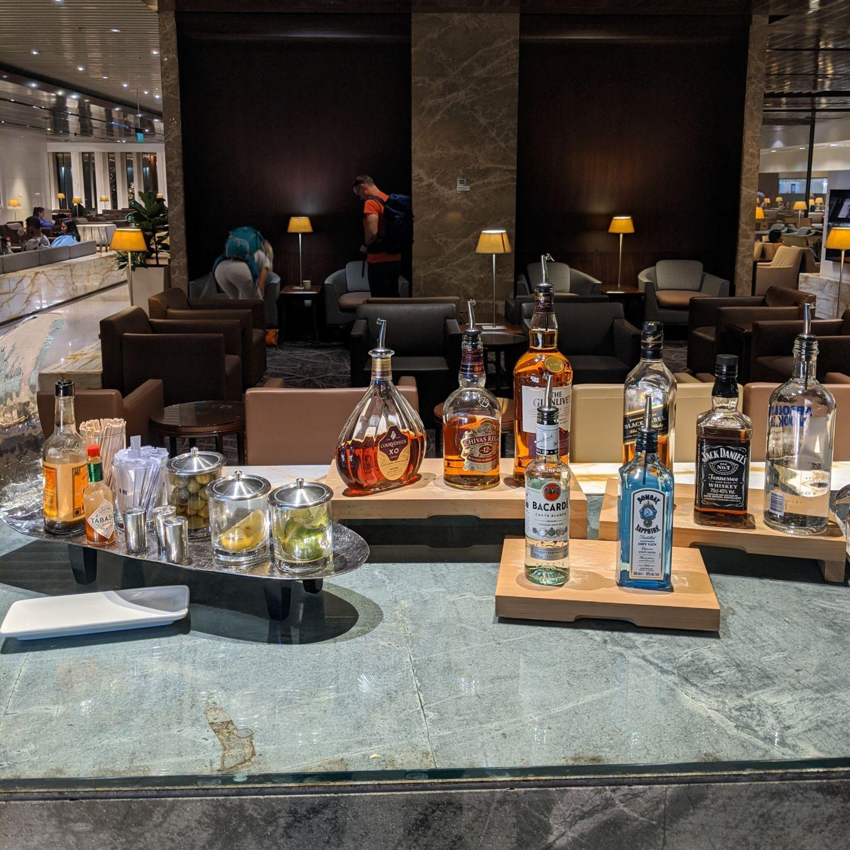 SilverKris Business Class Lounge Singapore Changi Airport Terminal 3 Alcohol Selection
