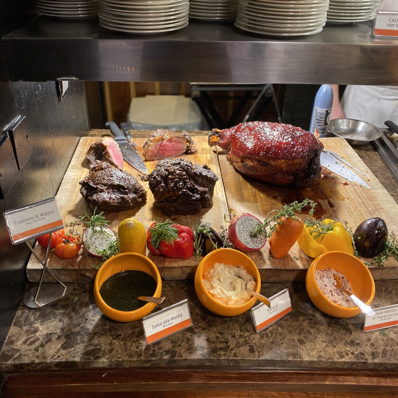 regent singapore basilico sunday brunch carving station Wagyu Beef Ramp and Honey Glazed Ham