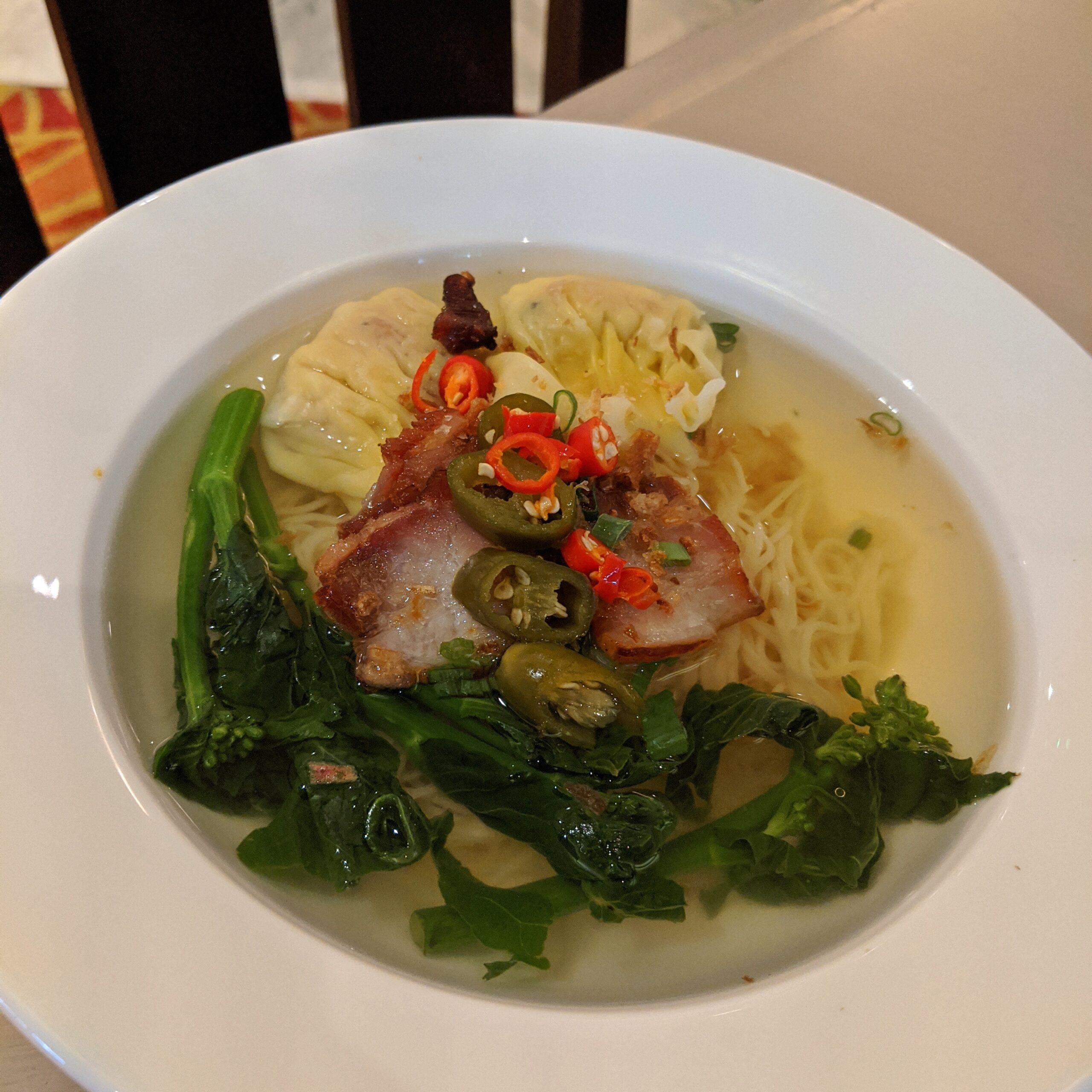 mandarin oriental singapore breakfast melt cafe prawn noodle soup with kurobuta pork char siew