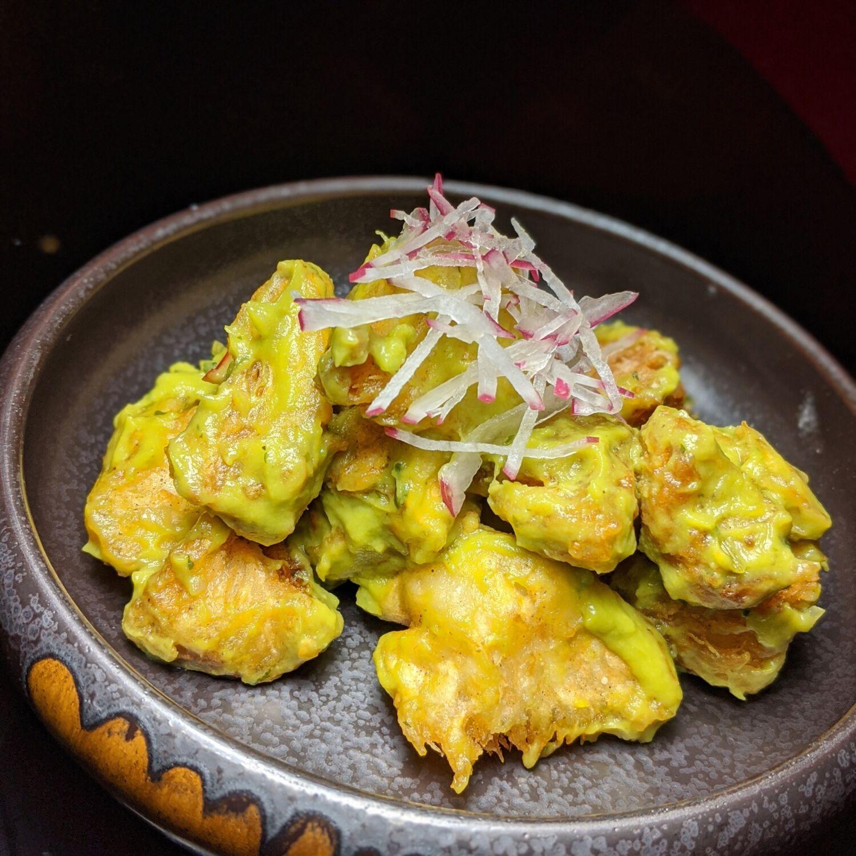 the vagabond club singapore a tribute portfolio hotel the vagabond salon yellow pot fried lion's mane mushrooms with avocado puree