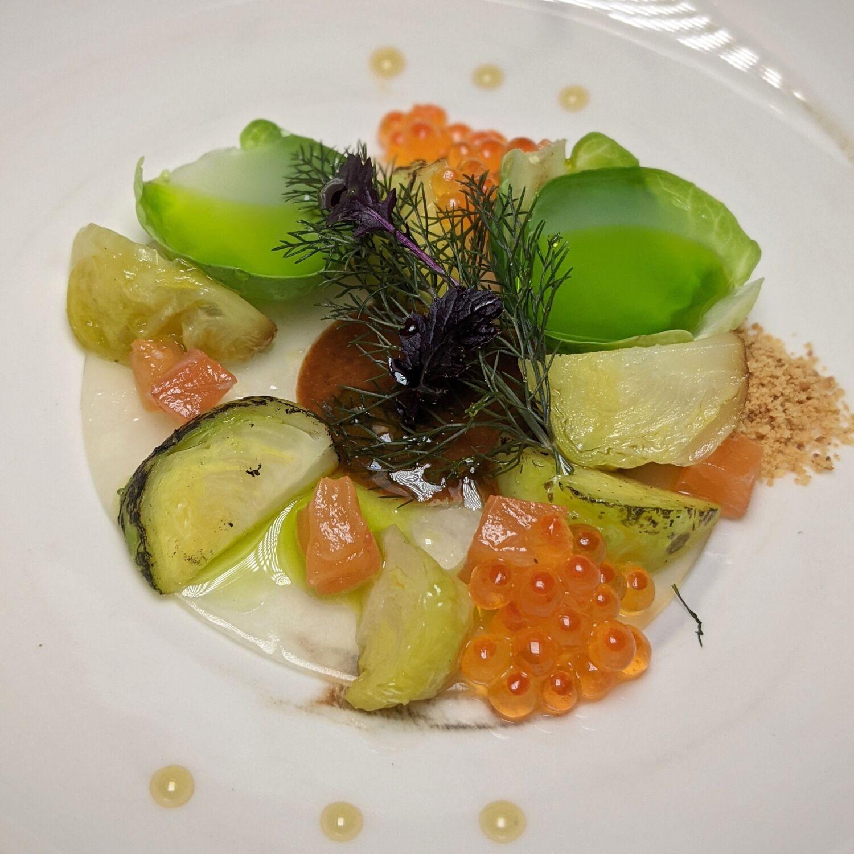 Restaurant JAG Brussels Sprout, Verveine, Trout