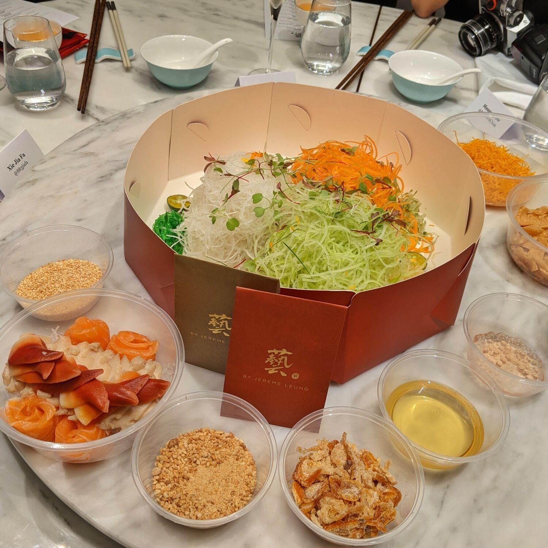 Raffles Hotel Singapore Yi by Jereme Leung Longevity Yu Sheng with Abalone, Arctic Surf Clams and Salmon