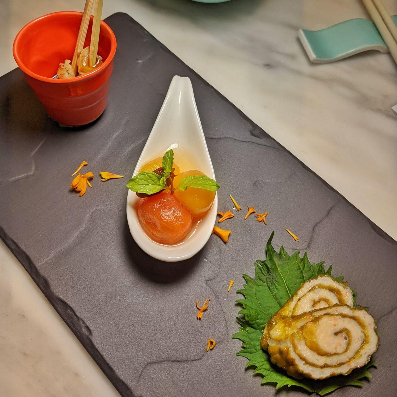Raffles Hotel Singapore Yi by Jereme Leung Sea Whelk Skewer, Seaweed Shrimp Rolls, Plum-pickled Cherry Tomatoes and Sweet Vinegar