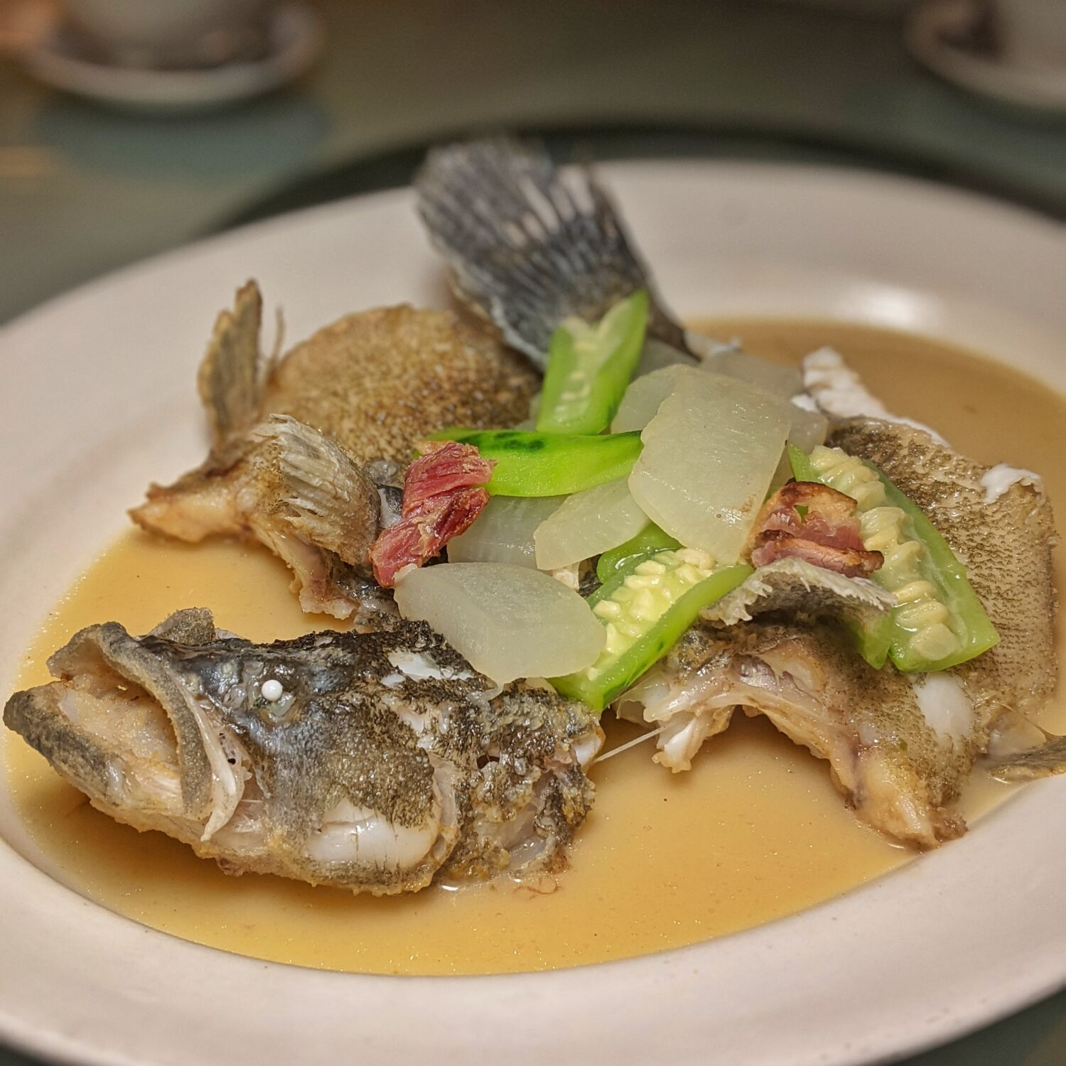Yan Cantonese Cuisine National Gallery Singapore Poached Star Grouper with Carrot and Luffa