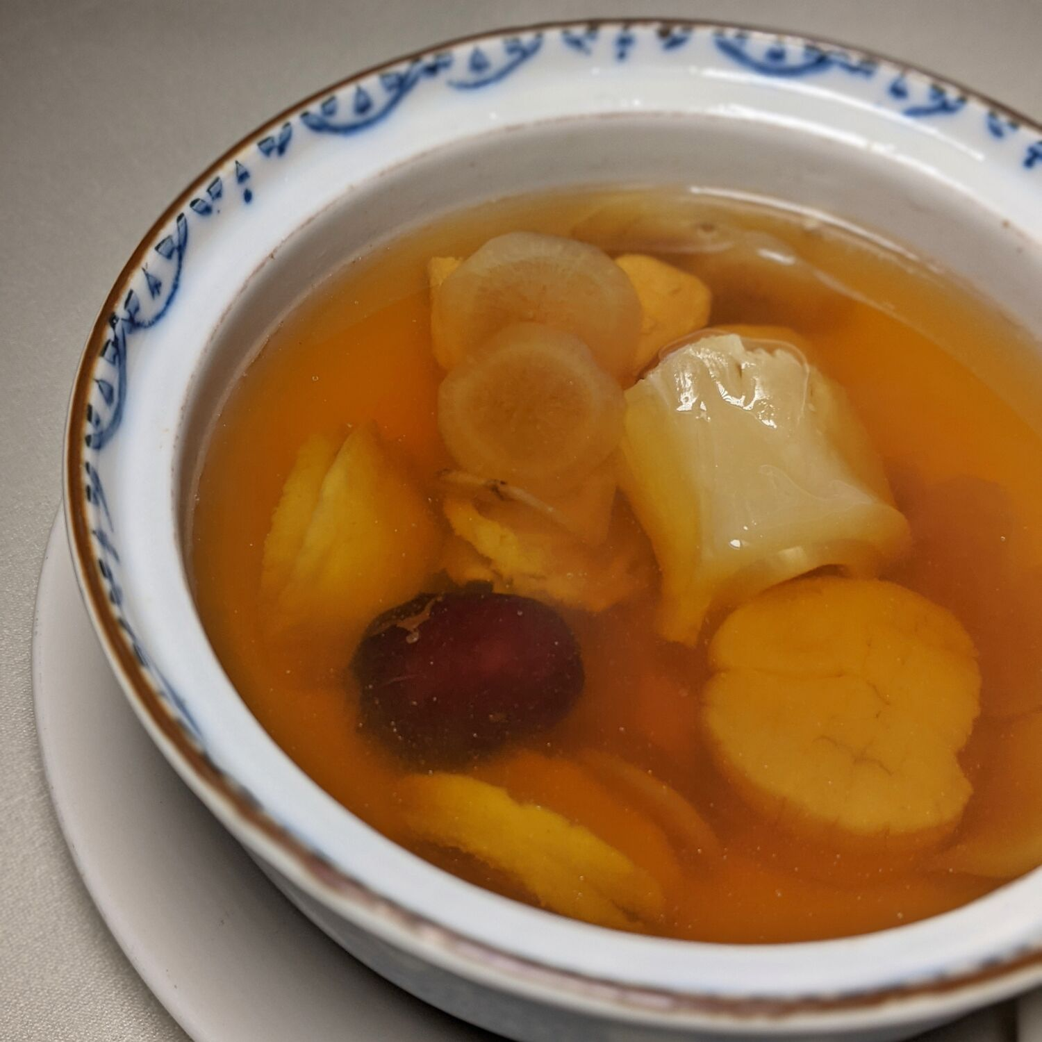 Mandarin Orchard Singapore Shisen Hanten Double-boiled Chicken Consommé with Greater Burdock, Baby Abalone, Dried Scallop and Red Date