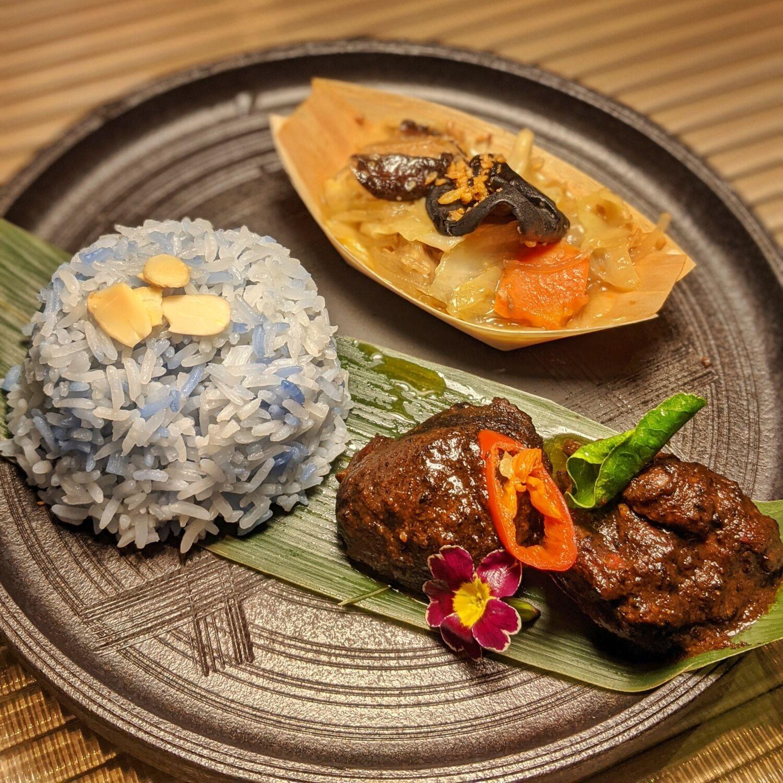 PARKROYAL COLLECTION Marina Bay Singapore Peppermint Ayam Buah Keluak Nyonya Chap Chye and Butterfly Pea Rice
