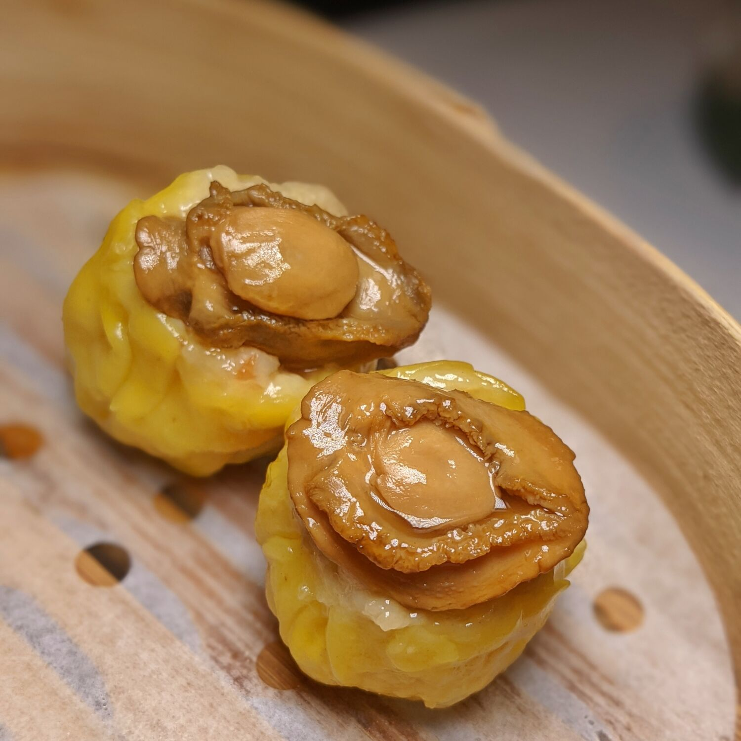 Capella Singapore Cassia Steamed Prawn and Chicken Siew Mai topped with Abalone